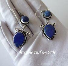 🌸 Superbes Boucles d'oreilles argent plaqué 925 Lapis lazuli.