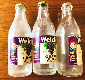 3 VINTAGE 1950's HOWDY DOODY WELCH'S GRAPE JUICE BOTTLES- HOWDY ON LABEL & CAP