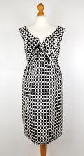 Anna Sui Black White Monochrome 60s Retro Geometric Wool Dress UK 10 US 6 Mod