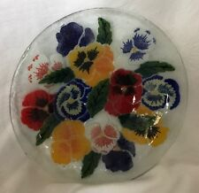"""2000 Peggy Karr - Pansies 8.5"""" Bowl - Signed & Retired"""