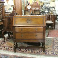 English Antique Oak Jacobean Front Drop Desk