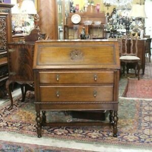 English Antique Oak Jacobean Front Drop Desk