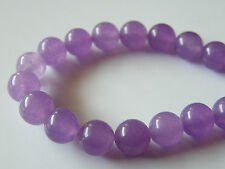 50pcs 8mm Round Gemstone Beads - Malaysian Jade - Pale Purple
