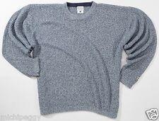 NEW Men's Medium Large M L Columbia Blue/White Ribbed Cotton Crewneck Sweater