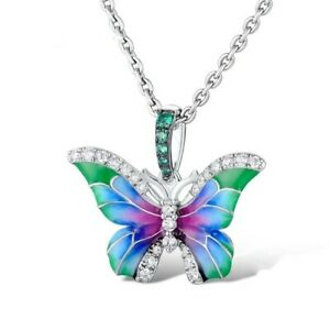 Multicolor Butterfly Necklace Sterling Silver for Women and Girls