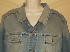 Denim Jean Jacket 2X Women Route 66 18-20W Faded Blue Trucker Coat Cropped 4d138