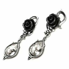 Alchemy Gothic Bacchanal Rose Pewter Drop Earrings - Droppers Crystal England