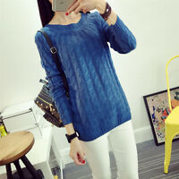 Women's Autumn Winter Casual Korean Knitted Sweater Pullover Loose Long sleeve
