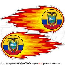 """Équateur fireball-fire-flaming équatorien 125mm (5 """") Vinyle stickers-decals x2"""