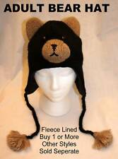 deLux BLACK BEAR HAT knit ADULT toque animal ski CAP grizzly LINED costume CUBS