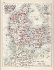 1921 MAP ~ DENMARK ~ SCHLESWIG-HOLSTEIN JUTLAND LAUENBURG LAALAND