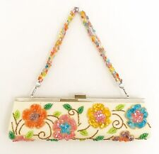 JESSICA MCCLINTOCK Purse Clutch Evening Bag Beaded Satin Floral Removable Strap