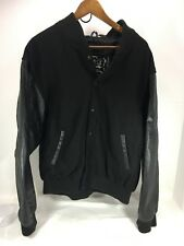 Men's NEW First Letterman Jacket Black wool & leather Sz L