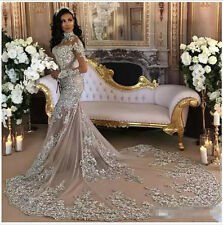 Big Train High Neck 2017 Wedding Dresses Long Sleeves Arabic Chapel Bridal Gowns