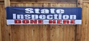 State Auto Inspection Done Here Banner Sign Repair Shop  2x8 Outdoor Vinyl Mesh
