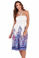 Ladies 100% Cotton Summer 3 in 1 Strapless Purple Floral Border Sun Dress Skirt