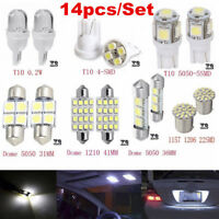 14PCS LED Interior Package Kit For T10 36mm Map Dome License Plate Lights Newly