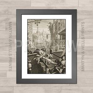 William Hogarth framed print: Gin Lane. 400x325mm. Alley. Textured canvas paper.
