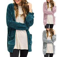 Women Long Sleeve Open Front Sweater Pockets Velvet Chenille Cardigans Coat UK