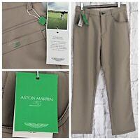 Aston Martin Mens Golf Trousers Size 30W x 31L Beige Smart Designer Sports NEW