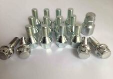M12 x 1.25, 17mm Hex, 26mm thread, tapered seat alloy wheel bolts. Set of 16 inc
