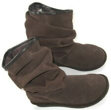 Skechers Australia Womens Size 8.5 Brown Leather Upper Suede Boots FauxFur Lined