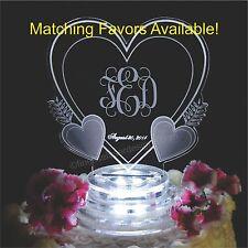 Vine Monogram Triple Heart Lighted Wedding Cake Topper Acrylic LED Engraved