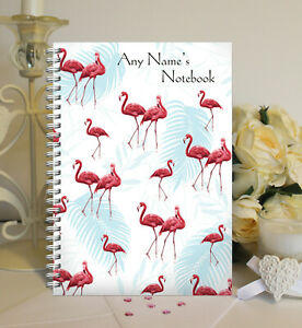 Personalised A5 Softbacked Notebook, Notepad, Flamingo Themed