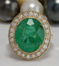 5.35 Carat Natural Emerald and Diamonds 14K Solid Yellow Gold Ring