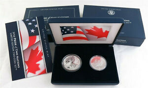 2019 American Eagle and Maple Leaf Pride of Two Nations Silver Coin Set Box COA