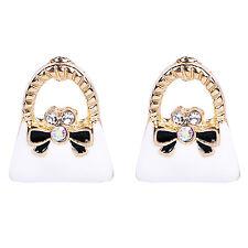 White Gold Lady Handbag Purse Fashion Women Girl Stud Beautiful Earrings E1212