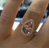 Delicated 3.50Ct Pear Cut Morganite Halo Engagement Ring 18K Rose Gold Over