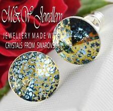 925 Silver Stud Earrings Crystals From Swarovski® RIVOLI- Aquamarine Gold Patina