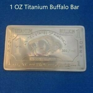1 TROY OUNCE/OZ .999 Pure TITANIUM Buffalo Bar/INGOTS/Bullion lot 1