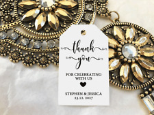 10 White Gift Tags Wedding Favour Bomboniere Personalised Thank you for celebrat