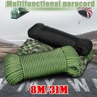 25FT/100FT 4mm 7 Strand Core Cord 550 Paracord Parachute Rope Lanyard Survival