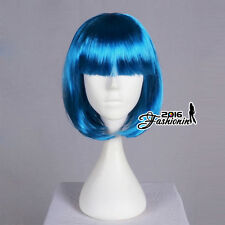 40cm Short BOBO Style Blue Straight Anime Hair Hallowee Cosplay Full Party Wig
