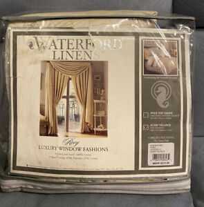 Waterford Linens Rory Ivory/Gold  Cotton Scarf Balance New