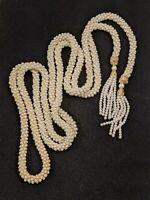 Vintage Faux Pearl Crema Twist Open Tassel Necklace 14537