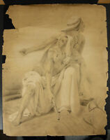 Drawing Original Orientalist Oriental c1900 Woman & Man Wall Airbrush Wounded
