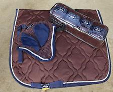 BROWN HKM MATCHY MATCHY SET. Saddle Cloth, Fleece Bandages, Fly Veil Ear Bonnet