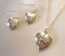 "SET 18"" White Gold Plated Love Heart Locket Pendant Necklace & Dangle Earrings"