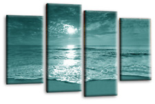 Sunset Beach Wall Art Grey Teal Cream Sea Sand Seascape Canvas Split Picture