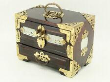 Vintage Chinese Jewelry Box with Jadeite Inlays