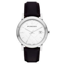 077111379f49 Para Hombre Burberry BU9008 Negro y Plateado Clásico de Cuero Genuino Reloj  RRP £ 400