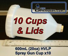 10x 600ml 20oz Plastic Cup For Hvlp Spray Gun With 14 Inch Npt Standard Thread