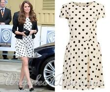 Topshop Petite a POIS SPOT DRESS SKATER Tea-Crema UK8/EU36/US4