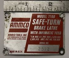 AMMCO 7700 Brake Lathe Data Name Plate for Restoration / Man Cave Display