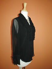 New Coldwater Creek Size PM 10-12 Black Ruffle Front Silk Shirt Blouse