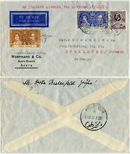 GOLD COAST 1937 IMPERIAL AIRWAYS ENGLISH AIRMAIL 10d RATE CORONATION FRANKING